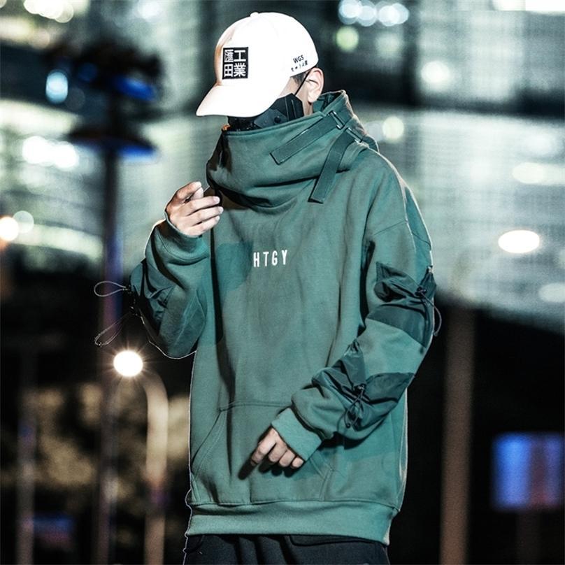 Hombres Streetwear Harajuku Hip Hop Solid algodón Cuello alto Sudaderas Sudaderas Sudaderas Chaquetas Abrigos 201126