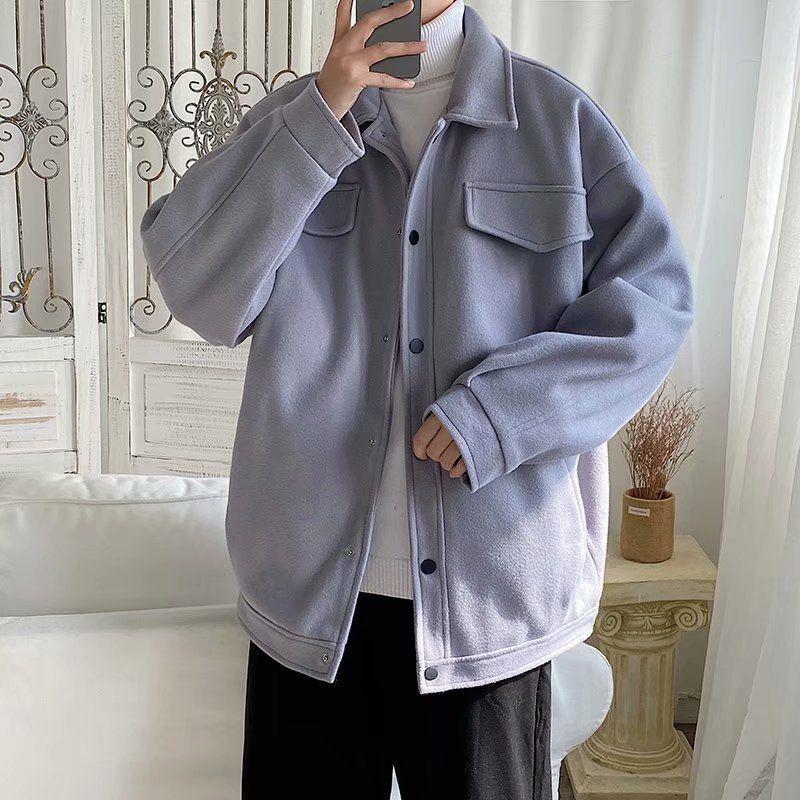 2021 Новая зимняя толстая мужская тепла мода повседневная ретро отворота шерстяные мужчины дикие свободные корейские короткие пальто мужские пальто 1aau