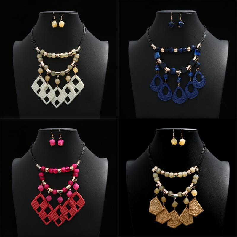 Earrings & Necklace Bohemian Colorful Set Multilayer Hollow Irregular Geometry Pendant Statment Jewelry For Woman Gift