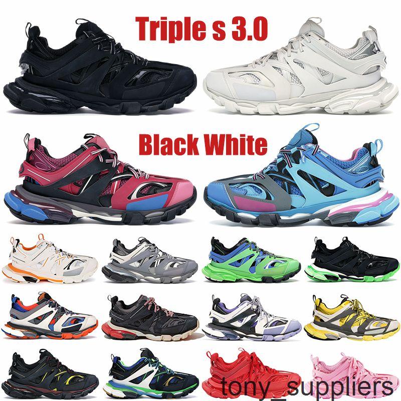 Высокое качество Triple S 3.0 Париж Платформа Мужская Повседневная Обувь Черный Белый Желтый Розовый свечение в темных мужских женских кроссовки