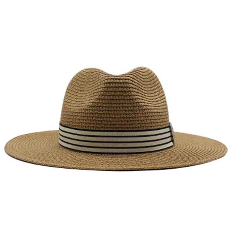Kadın Şapka Saman Geniş Brim Yuvarlak Üst Güneş Şapka Band Kemer Çizgili Rahat Açık Plaj Seyahat Vintage Beach Beyaz Haki Güneş Şapkaları