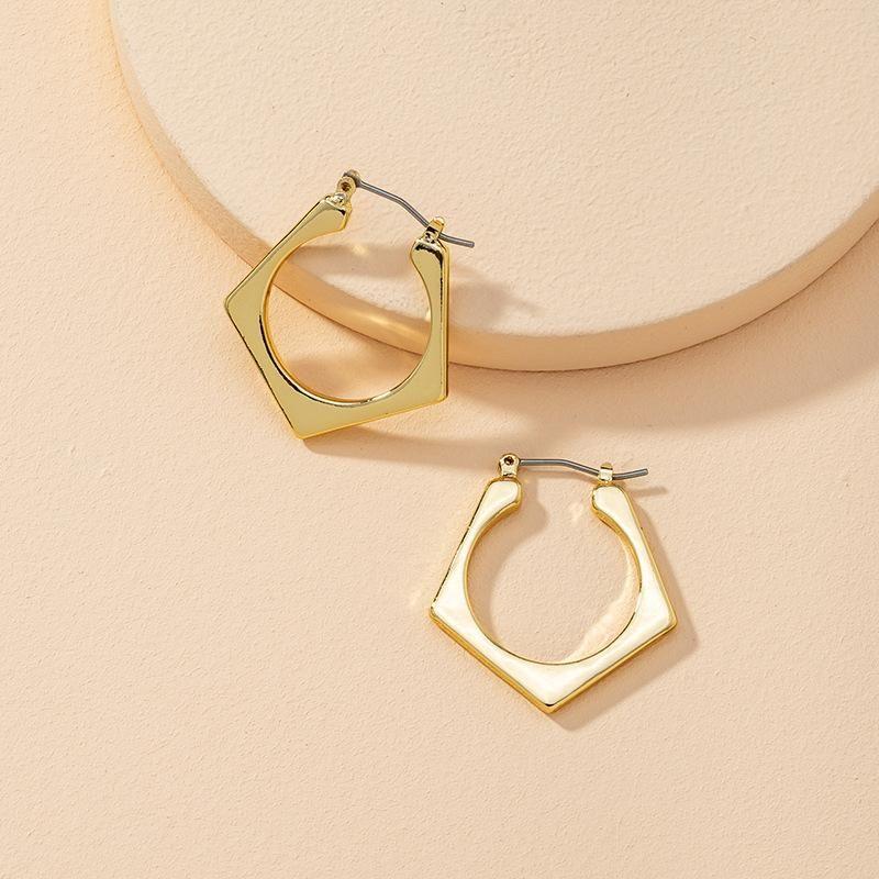 Altın Çinko Alaşım metal küpe kadınlar için geometrik poligonal minimalist takı