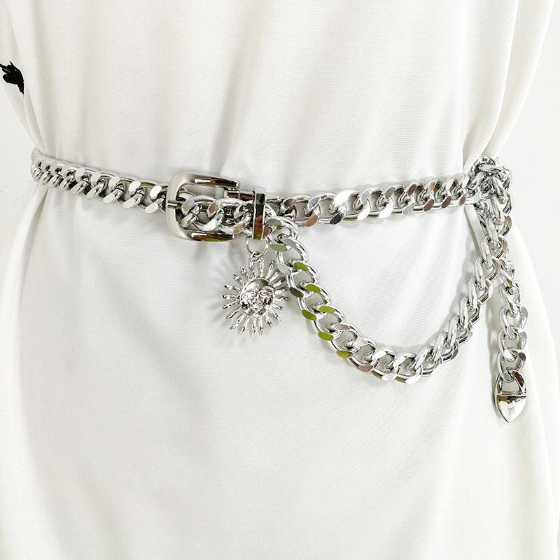 벨트 실버 체인 벨트 태양 금속 여성용 고딕 펑크 허리 Ketting Riem Dress 쥬얼리 골드 Ceinture Femme 허리띠