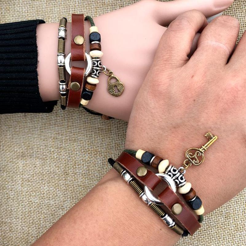 2 Pcs His & Hers Lovers Key Bracelet Bangles Lock And Key Couples Leather Bracelet Friendship Hot Man Women Valentine's Day Gift
