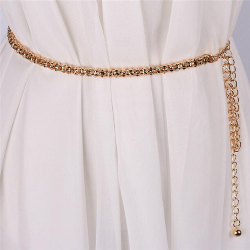 여성 체인 스트레치 스트랩을위한 벨트 우아한 허리 벨트 금속 잎 럭셔리 다이아몬드 여성 얇은 허리띠 Ceinture