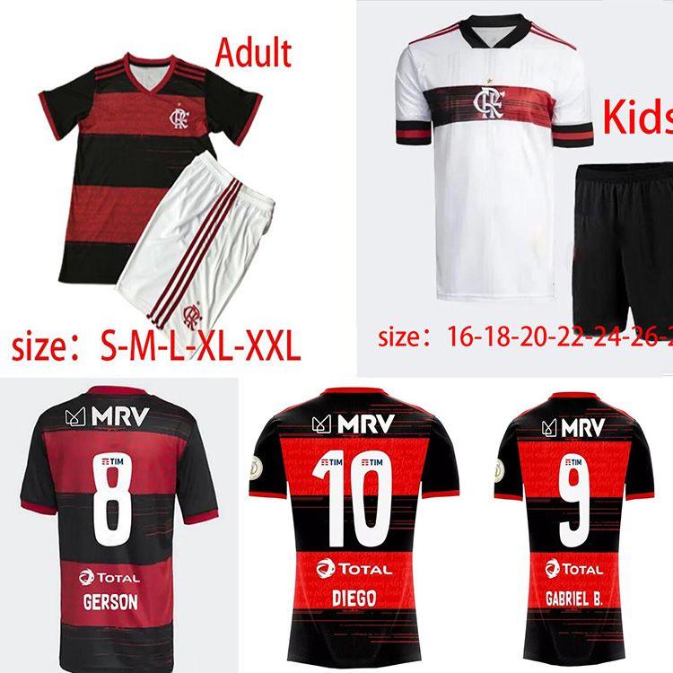 2021 Brasileiro Flamengo Soccer Jersey Adulto + Kit Kids Gabriel Barbosa Camisas de futebol de Arrascaeta Gerson B.Henrique Camisa