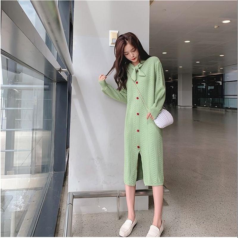 2021 novas mulheres outono inverno espesso suéter quente feminino manga moda médio longo malha pullovers casual tops n05617a