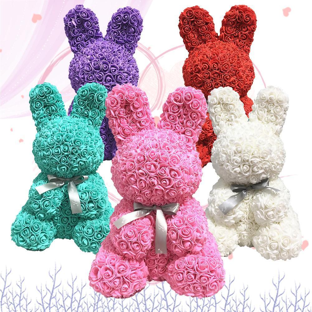 الأرنب محاكاة روز أرنب شكل الحيوان روز عيد الحب يوم زهرة الديكور الاصطناعي هدية الزفاف الديكور عيد