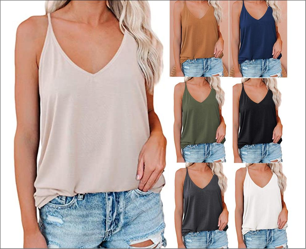 New Summer Plus Size Vest V Neck Women Sexy Tanks Tops Casual Loose V-neck Sleeveless Pullover Vest Solid Grey Black Blue Tops