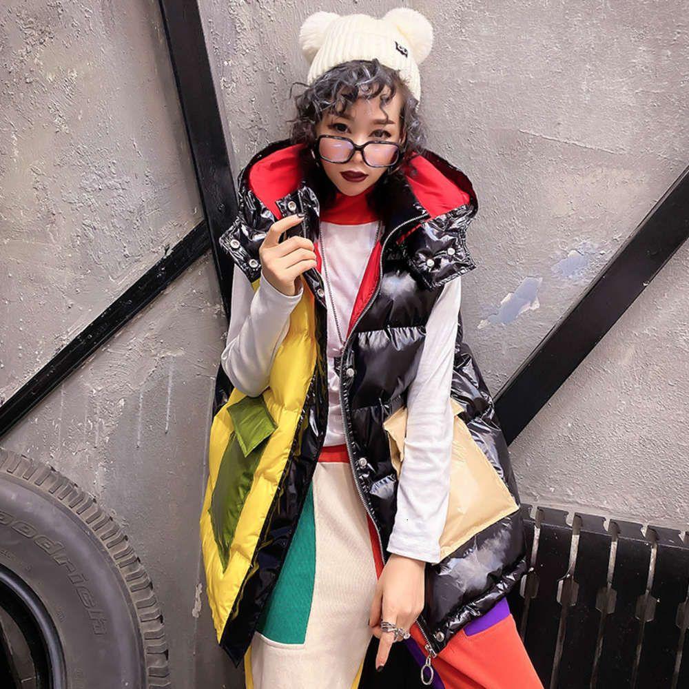 2020 Loose Thick Warm Waistcoat Winter Sleeveless Jacket Hooded Coat Fashion Patchwork Down Cotton Vest Jackets Women