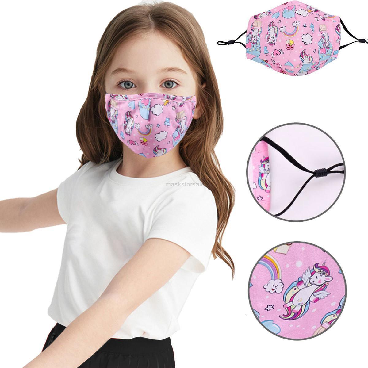 Dibujos animados lindo a prueba de polvo impreso de invierno reemplazable para niños con máscara de algodón de tela XHL2KP
