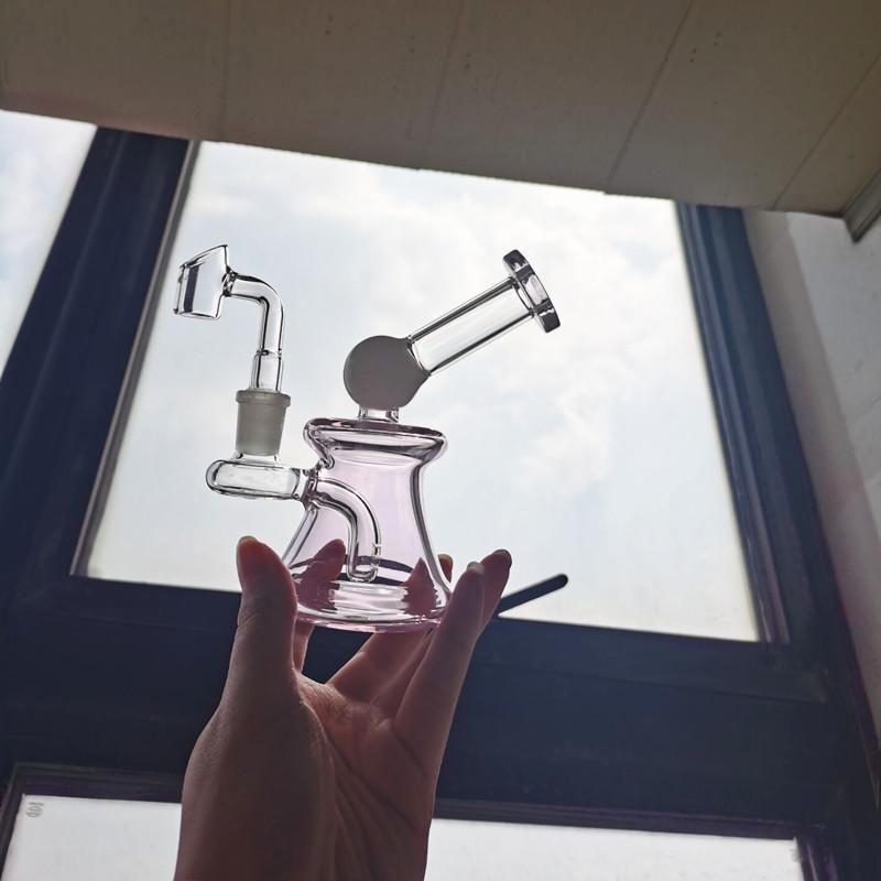 Agua de cristal rosado BONG DUBRANDO PERC HUMO Vidrio de vidrio quemador de aceite CHEBETER BONG HOOJAHS Accesorios Cera Ashcatcher DAB Rigs con una articulación de 14 mm
