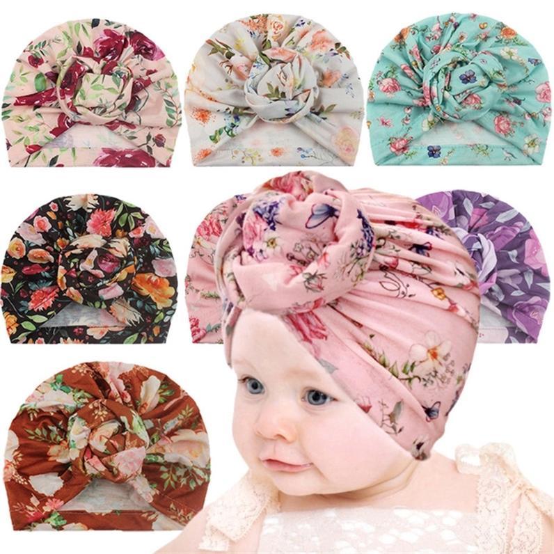 Tie-Dye Flower Pead Wrap Sombrero gorros gorros Baby Bandanas Sombreros Niños Recién nacido Lindo Niño Headwear Infant Little Girls Ball Knot Turban GG20302