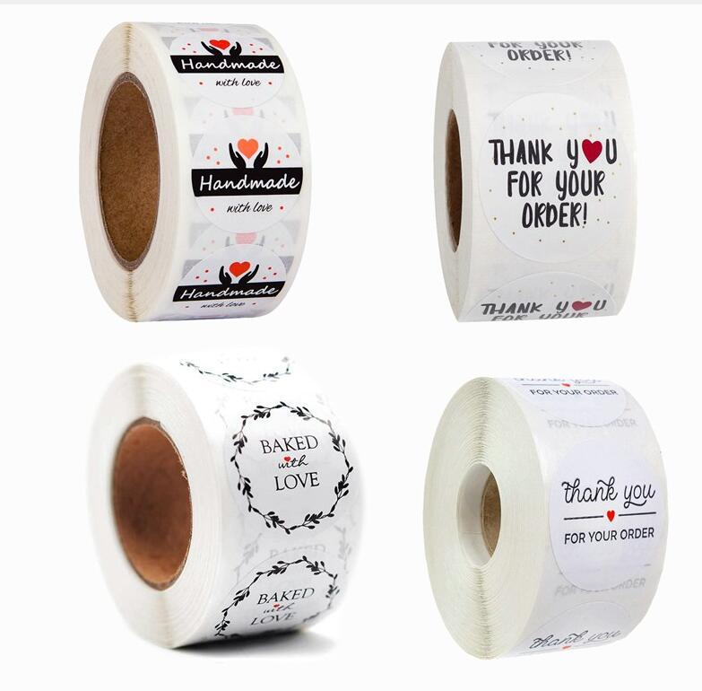 Hot Home Festive Gift Sealing Stickers 500pcs/roll Thank you Love Design Diary Scrapbooking Stickers Festival Birthday Party Gift WWA128