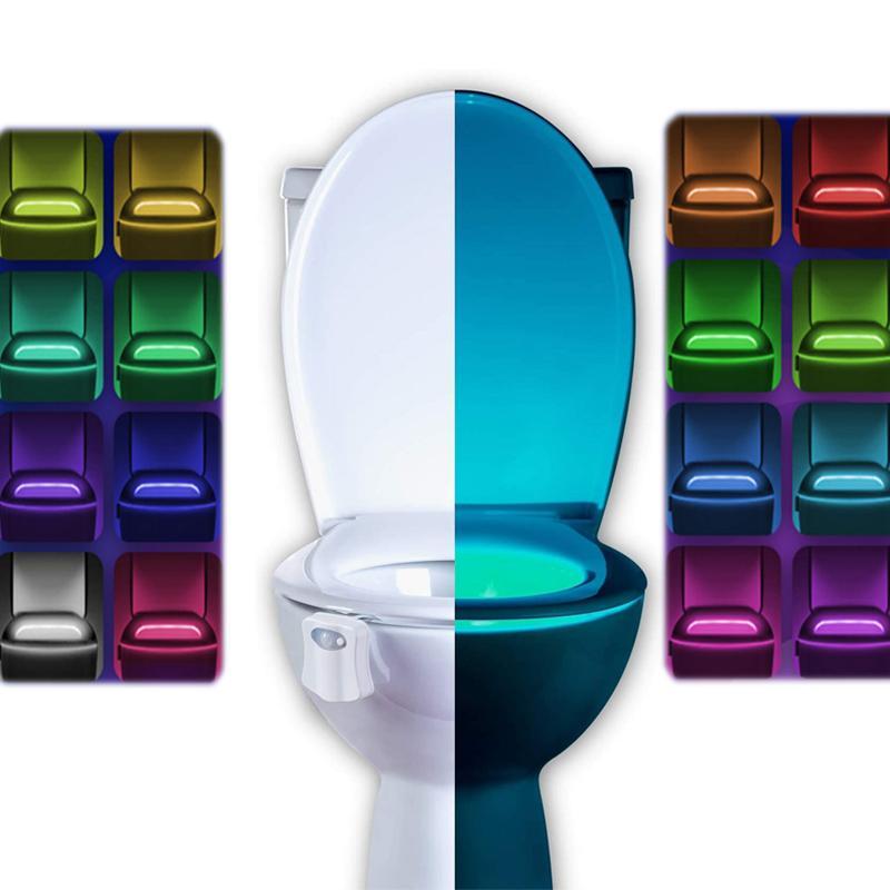 화장실 야간 빛 2 팩 Ailun 모션 활성화 된 LED 빛 8 색 변화 화장실 배터리에 대 한 밤 라이트 라이트 라이트 포함