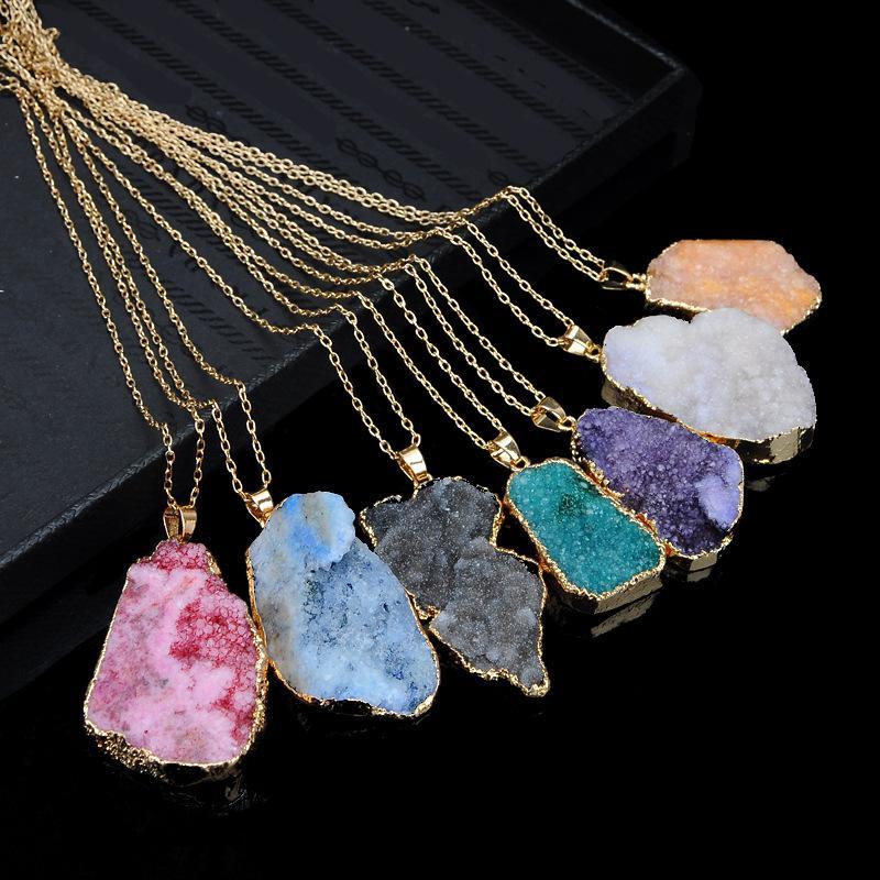 Hot Selling Nature Stone Geometric irregularity Pendants amethyst Rose Quartz White crystal Lemon crystal fluorite Charms Stone For Necklace