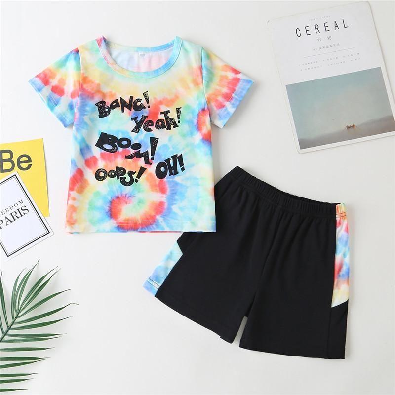 Baby Kinder 1-5Y Kind Baby Jungen Mädchen Krawatte Kleidung Sets Buchstabe Kurzarm Top + Elastische Taille Shorts Mode Outfits