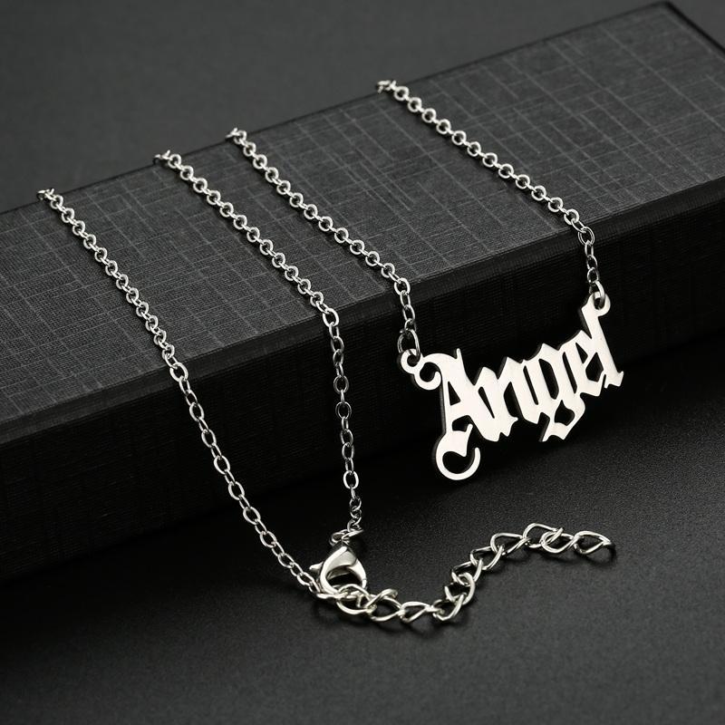 Модный ангел Choker ожерелье из нержавеющей стали писем кулон ожерелья для женщин девушки мода ювелирные изделия любят подарок на день рождения