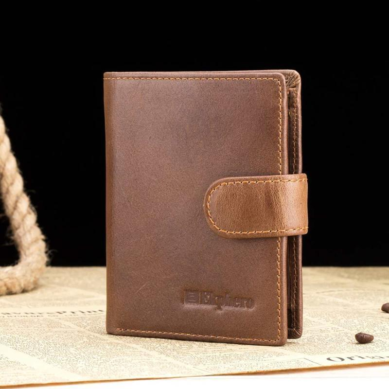 Wallets Genuine Leather Men's Wallet Vintage Zipper Money Clip Short Coin Bags Bank Card Business Organizer Father's Day Gift