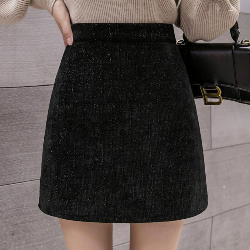 Faldas Otoño Invierno Mujeres engrosada CALIENTE CALIENTE CALIENTE Falda femenina High Cintura Slim delgada 2021 Black Short Una línea Y111