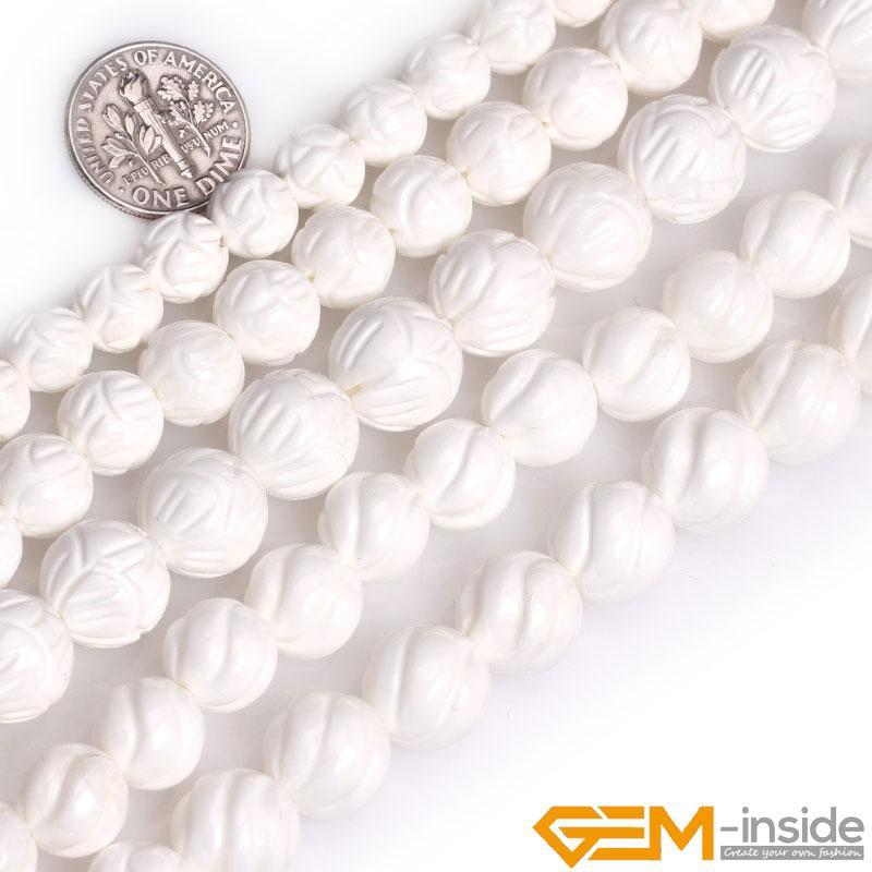 Altro Shell Natural Shell Bianco Tridacna Stone Round Flower Scoved Flower Perline per gioielli Making FAI DA TE Braccialetto Accessori per orecchini Perline 15 ''