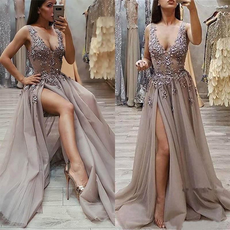 New V-Neck Applique Beaded Sleeveless A Line Prom Party Gown Girls Pageant Formal Dress Custom Evening Dresses Gown Tulle