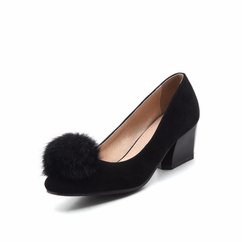 Обувь платье Большой и небольшой размер 31-47 Весна Осенние Женские Насосы Квадратный Носок Женщины Высокие каблуки Свадьба 503