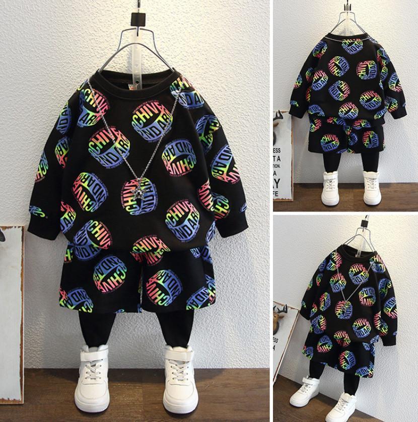 Mode Kinder Casual Outfits 2021 Frühlingsjungen Bunte Brief Langarm Sweatshirt + Shorts Spleißen Hosen 2 stücke Kinder Jumper Sets A5932
