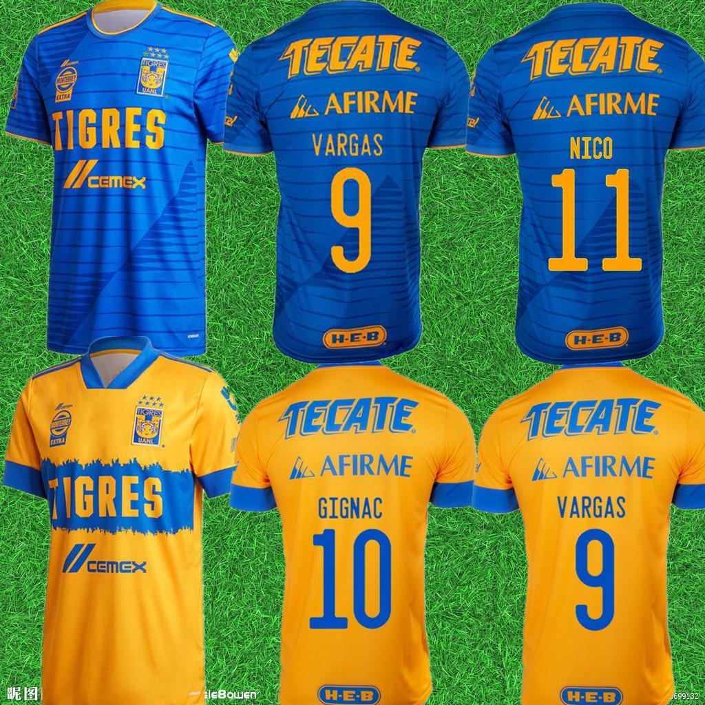 Homens 2020 México Uanl Tigres Soccer Jersey 7 Estrelas C.Salcedo Gignac Vargas Pizarro Jersey Jersey Kit Camiseta de Tigres Uanl 20/21 Liga MX