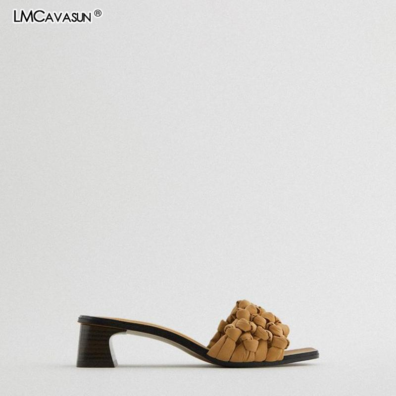 Lmcavasun 2021 nueva zapatilla de mujer marrón decoración tejida mujer diapositivas sandalias alto talón espeso tacón sandalias para mujeres