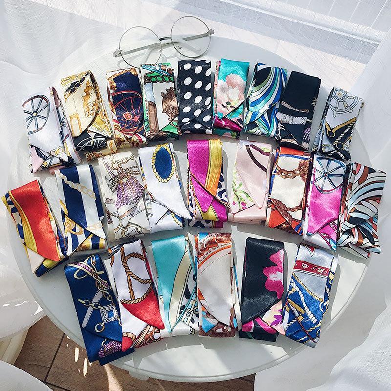 2021 Mode Seidenschal Haarband Koreanische Frauen Kleine Streifen Bindung Haar Ribbon Herbst Retro schmale künstliche Seidenschal Großhandel