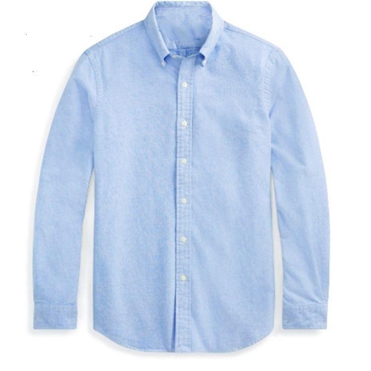 Polo Camicia a maniche lunghe Casual Solid Shirt Mens Men's RL Polos Camicie Fashion Oxford Social Shirts Nuovo arrivo