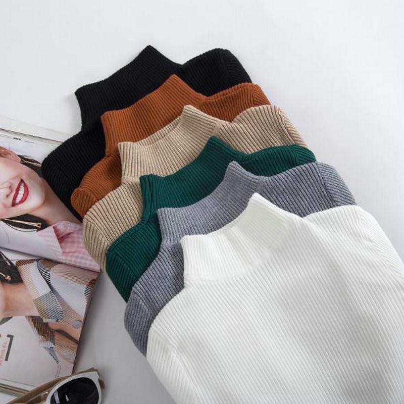 Осень зима водолазки пуловеры свитера грунтовки рубашка с длинным рукавом короткая корейский тонкий подходящий устойчивый свитер My02