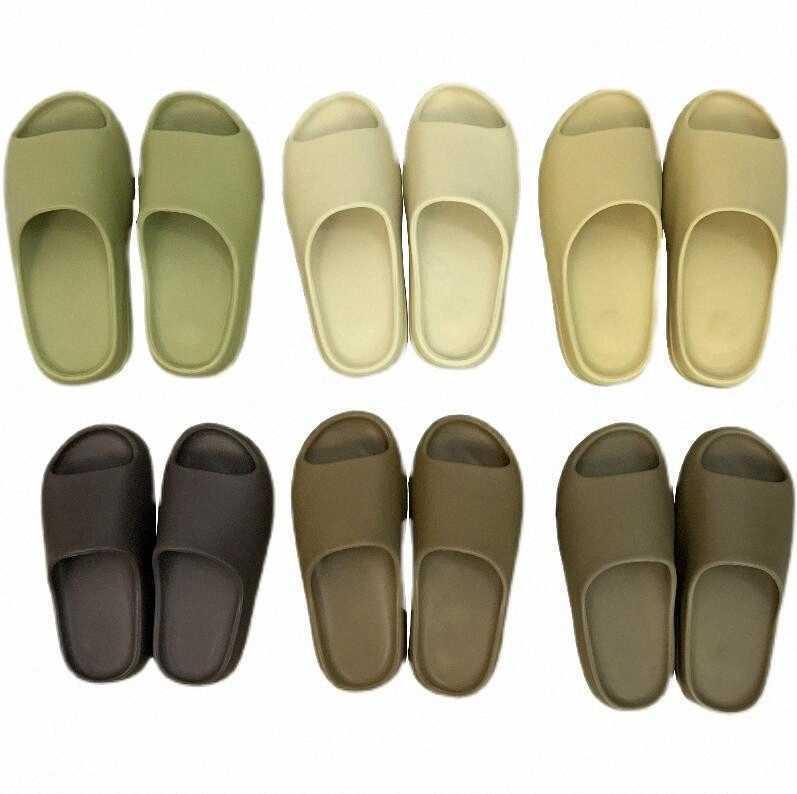 Kanye Slaytlar Batı Kemik Reçine Çöl Kum Terlik Siyah Beyaz Slayt Terlik Toprak Kahverengi Erkek Kadın Erkek Bayan Sandalet Kurum Çekirdek Saf Enfora