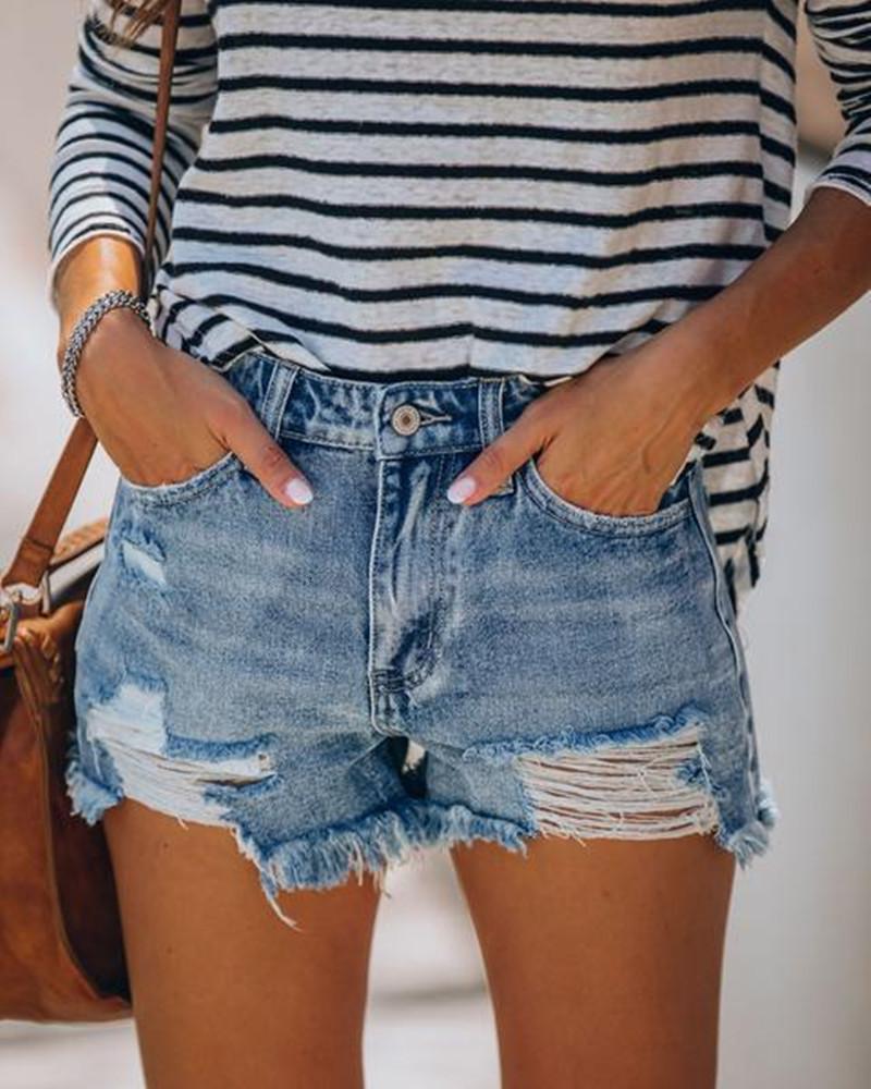 Кнопка свободная 2020 летняя дыра кисточкой джинсы шорты горячие брюки женские одежды
