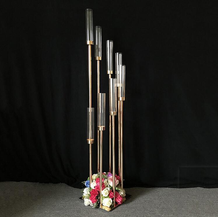 Свадебный стол Центр Центр Цветочная подставка для подсвечника 8 головы подсвечников с абажурной металлической золотой канделяброй без лампы