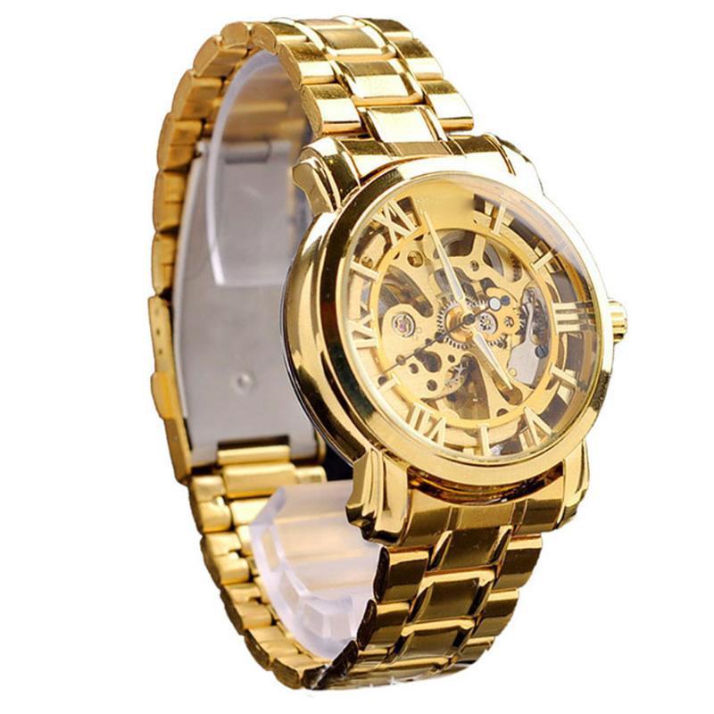 Armbanduhren Wasserdichte Herren Automatische mechanische Uhren Luxus Selbstwindende Hohluhr Edelstahl Skeleton Handgelenk Relogio