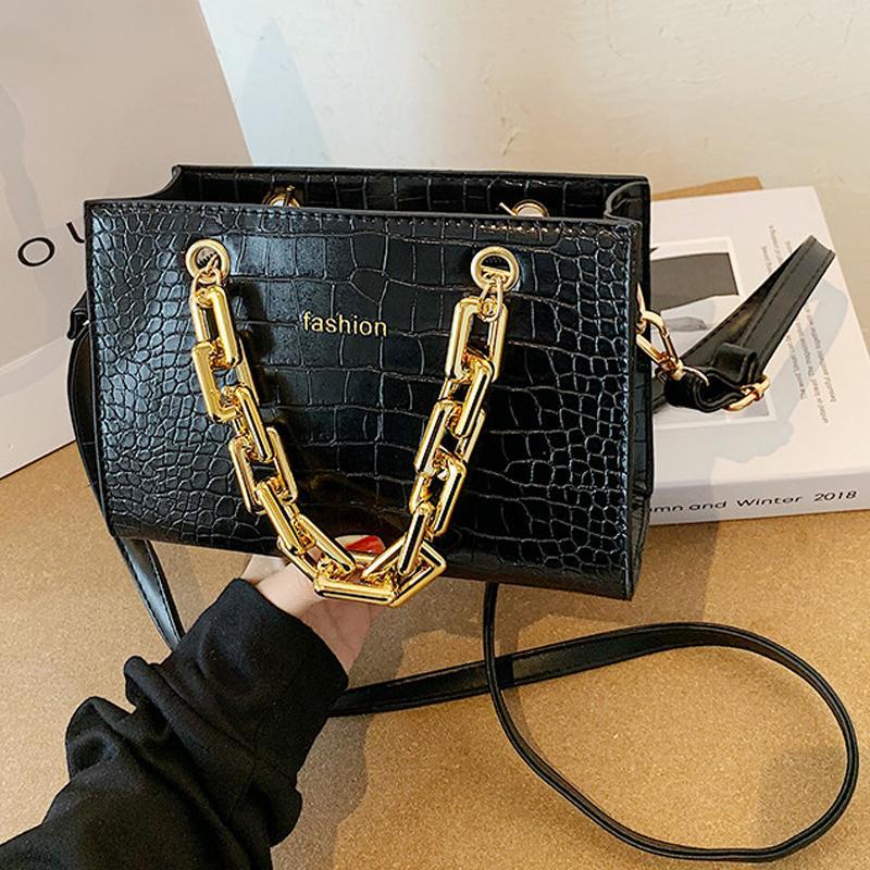 Luxury Gold Chain Handbag Stone Pattern Leather Crossbody Bag Designer Chain Shoulder Bag Messenger Bag Mini Purses C0224