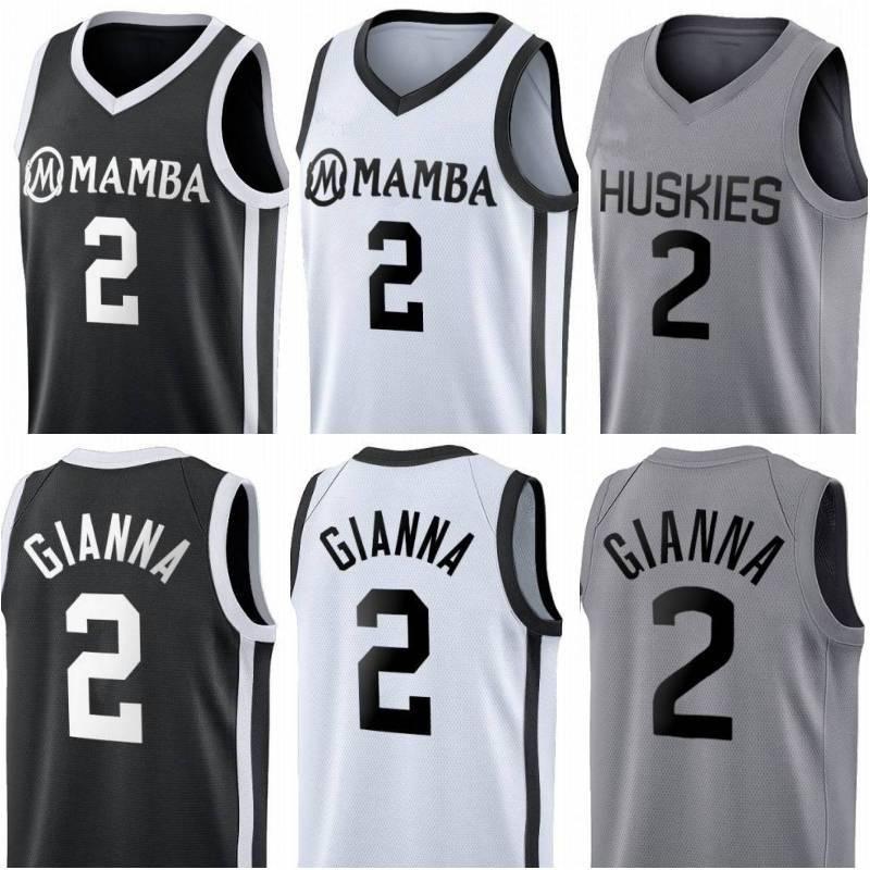 Dikişli Gianna Maria Onore Jersey Uconn Huskies Özel Tribute Koleji 2 Gigi Mamba Anıtı Basketbol Formaları