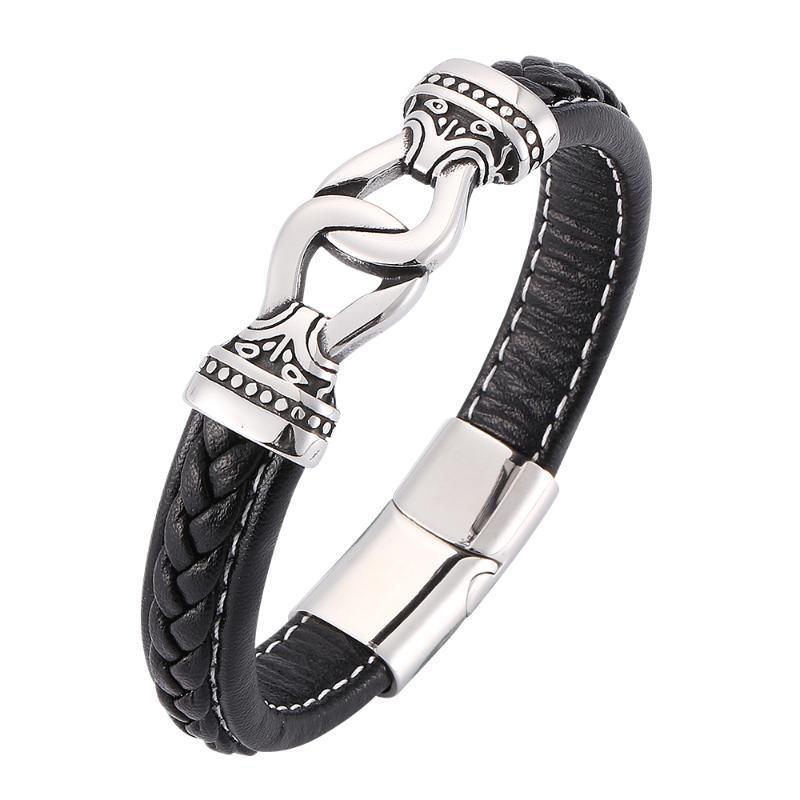 Браслеты очарования персонализированные бизнес мужские черные тканые кожаные браслеты из нержавеющей стали мода гламур 7-SP0186