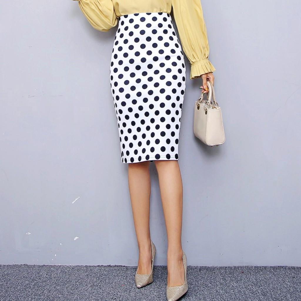 Юидянский женский карандаш юбка 2020 новая в горошек Print Высокая талия Slim Skirts Молодая девушка Лето Большой Размер Япония Женская Фалда