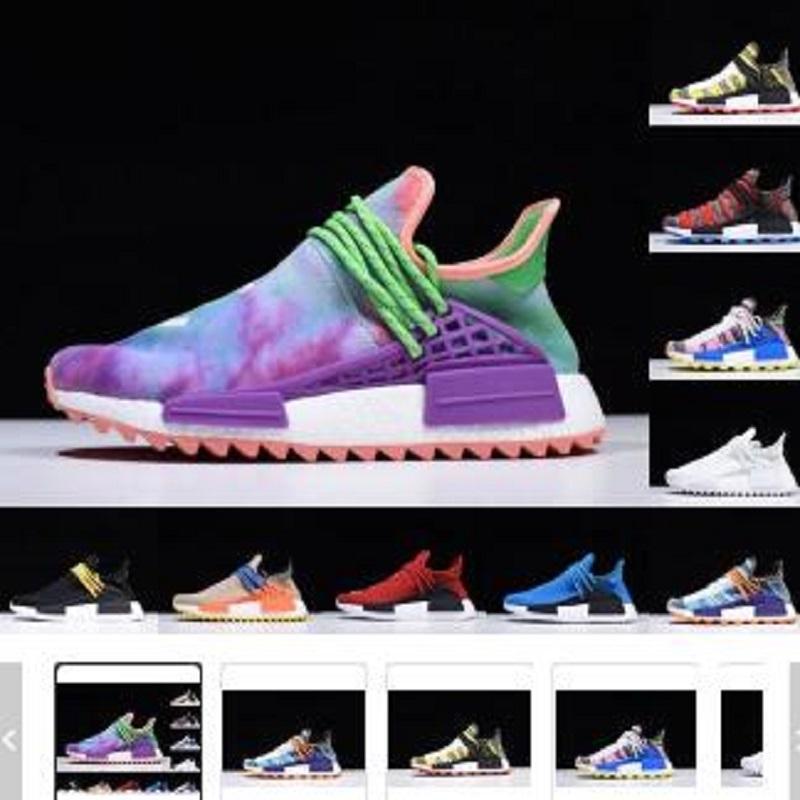 2021 Yeni NMD Pharrell Williams Güneş Paketi Anne BBC Siyah Sarı Erkek Bayan İnsan Yarışı Koşu Ayakkabıları Soluk Çıplak Nerd Krem Sneakers