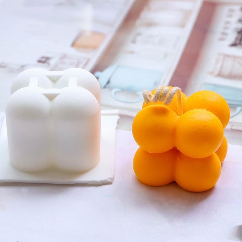 DIY SILICONO PEQUEÑO TAMAÑO CUBO Forma de cubo Molde de vela Herramientas de bricolaje Herramientas para hornear 7 colores Molde de cocina DHL gratis