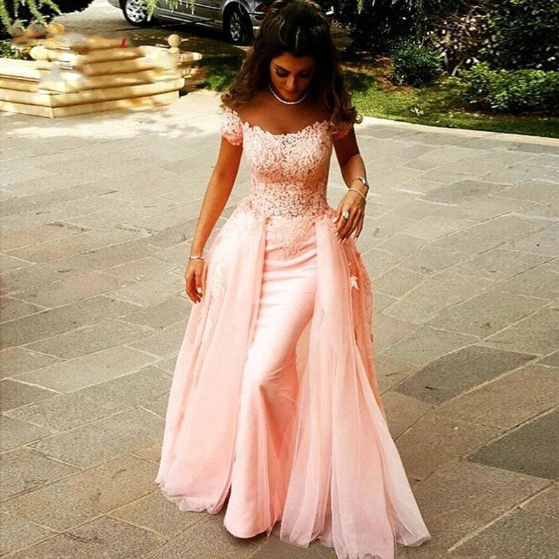 Pink Long Lace Evening Dresses Party A Line Plus Size Dinner Women Celebrity Detachable Skirt Prom Formal Gowns