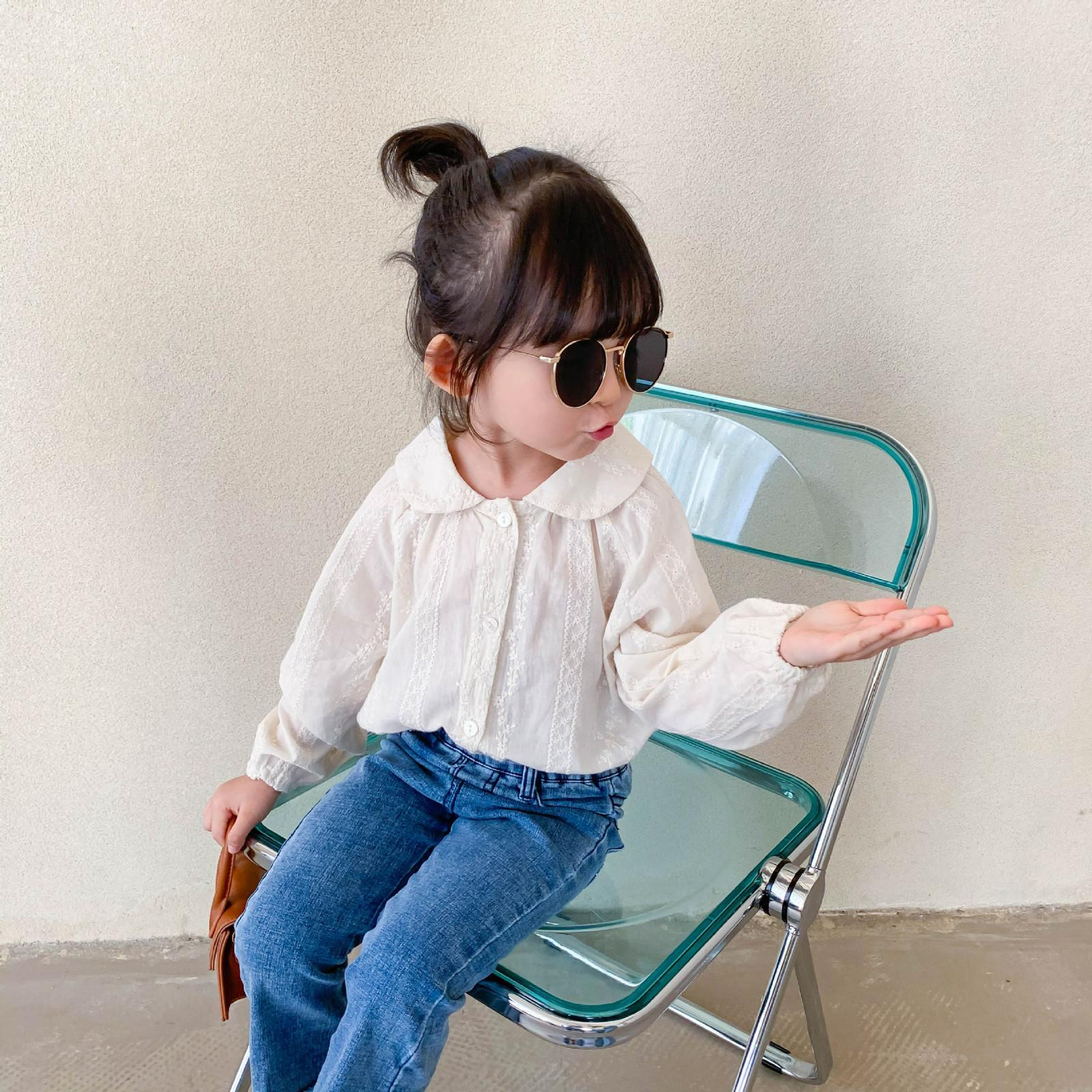 Autumn cute girls fashion embroidery doll collar shirts baby girl pure cotton casual long-sleeved shirt 210302