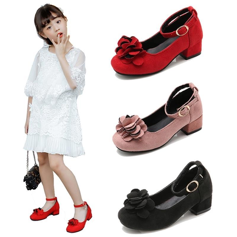 Розовые красные черные большие девушки кожаные ботинки для детей на высоком каблуке девушки принцессы обувь для свадьбы и вечеринка одежды девушки 3-15т 210306