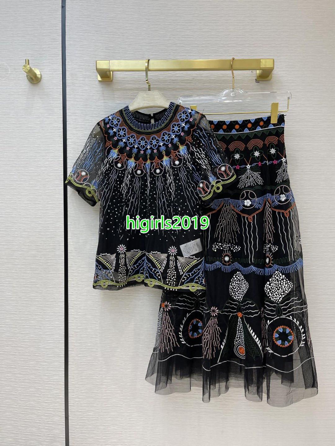 Mujeres niñas camiseta de manga corta camiseta de tul tul tees con tops bordados florales t-shirt retro camiseta alta cintura midi malla falda vestido de dos piezas
