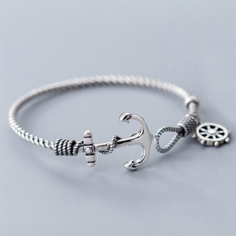 Bracelet en argent solide réel 925 Bracelet d'ancrage Bracelet Bracelet Hommes Punk bijoux 925 Sterling Argent Bracelets pour femmes