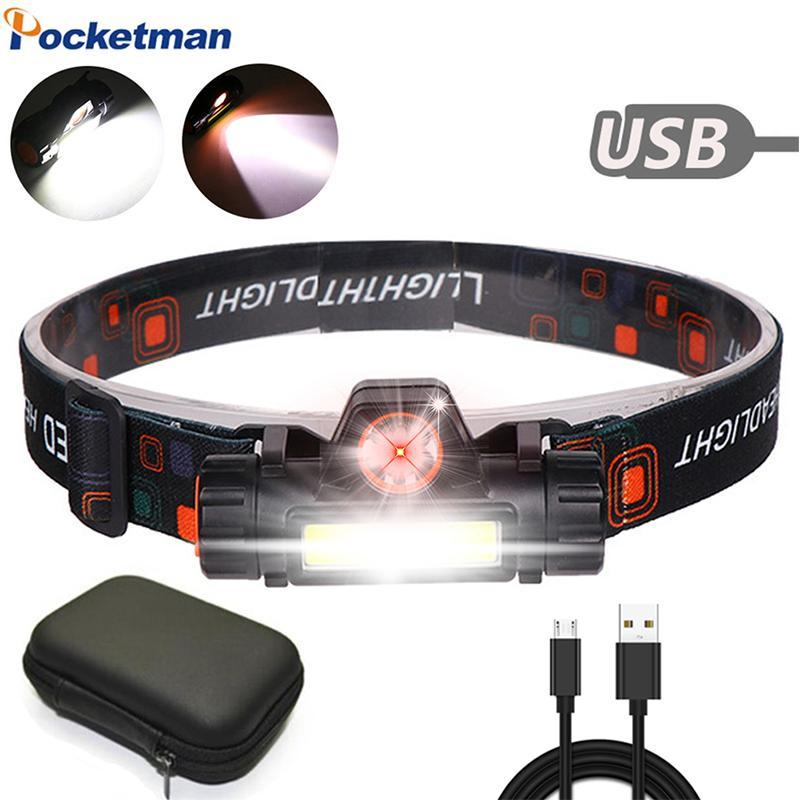 Super Powerful Headlight XPE+COB USB Rechargeable Bright Head Lamp Built-in Battery Head Light Waterproof Torch Camping
