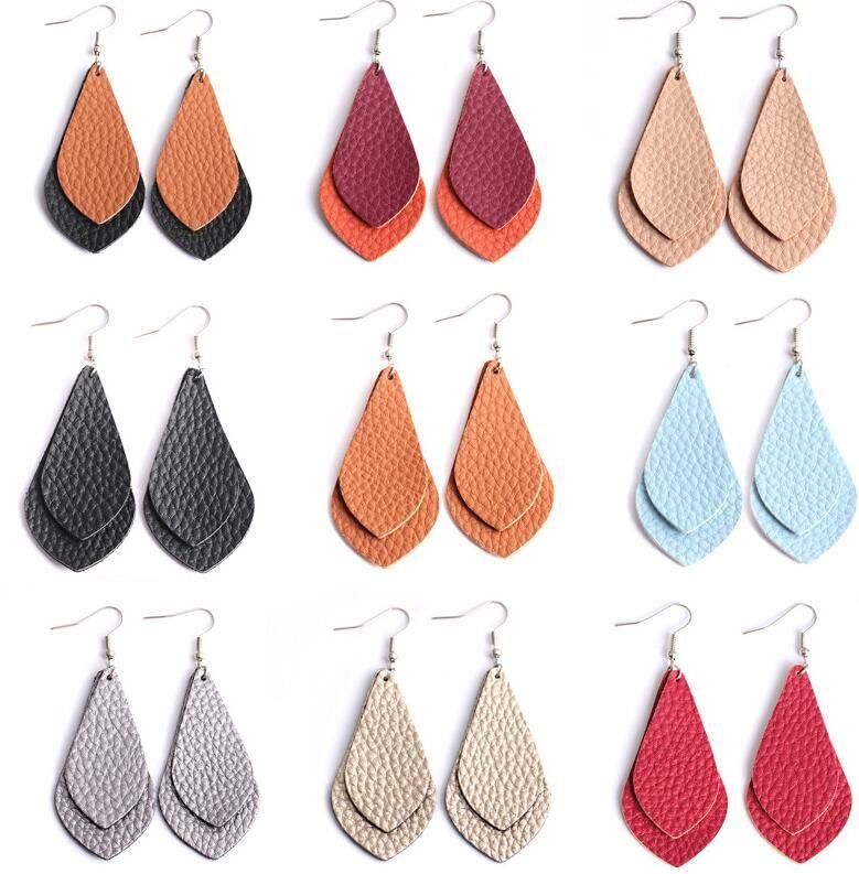Women Bohemian Personalized handmade leather Teardrop Dangle Earrings Flat Leather Earrings for Fashion Jewelry 8*3cm ps1341